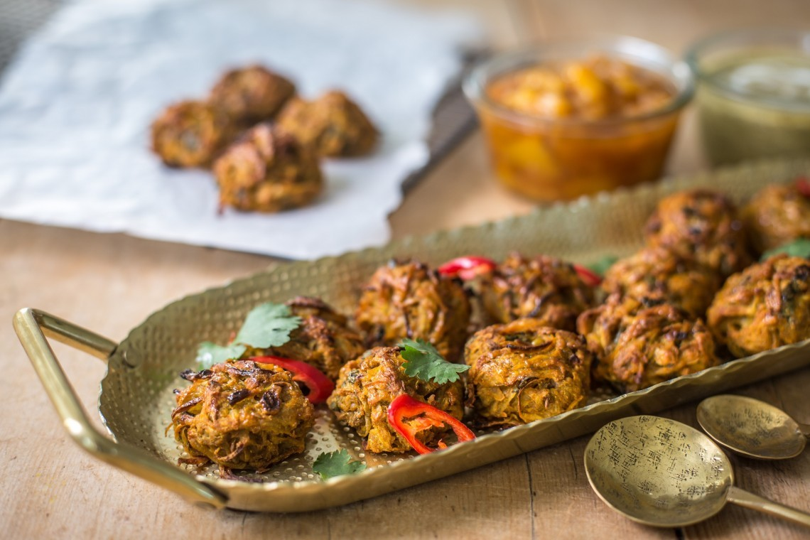 Baked potato and onion bhaji recipe