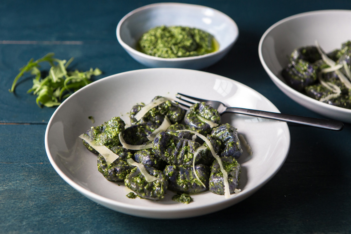 Violet Queen potato gnocchi with rocket and basil pesto