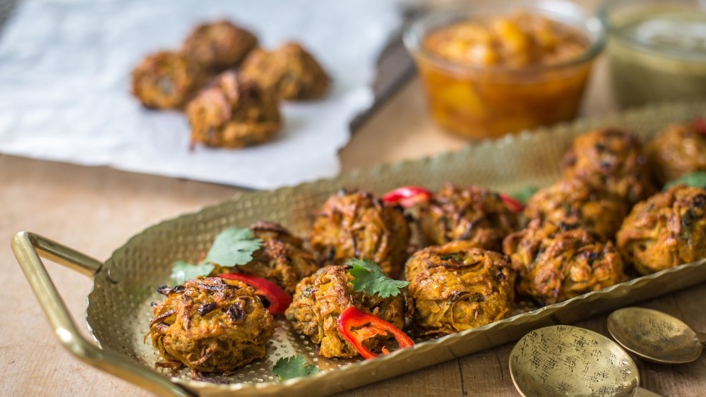 Vegan potato and onion bhajis