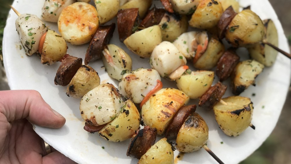 Gill Meller's Cornish New potato, scallop and chorizo kebabs