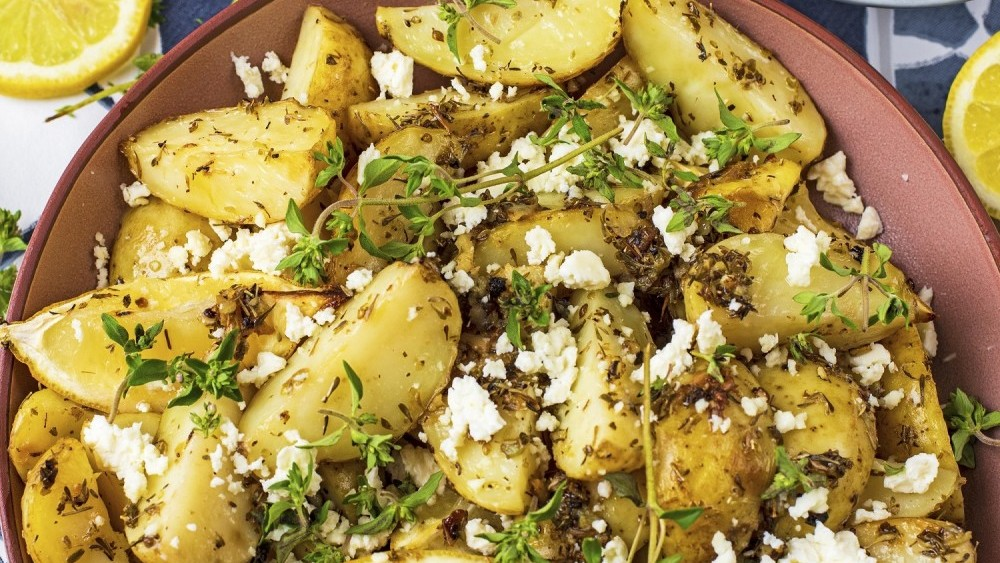 Hungry Healthy Happy's Greek Cornish New potatoes