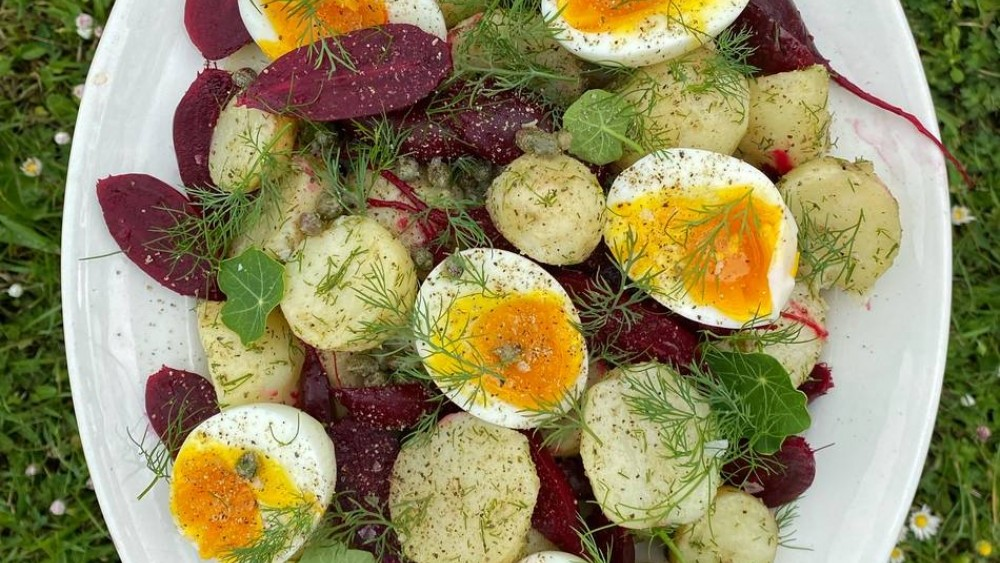 Gill Meller's Cornish New potato salad with baby beetroot, eggs, capers and dill