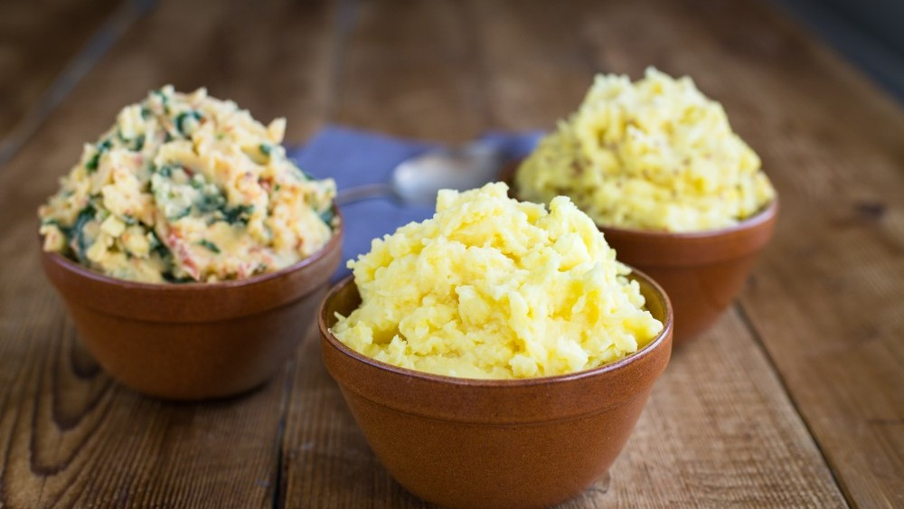 Mashed potato with kale and sundried tomato