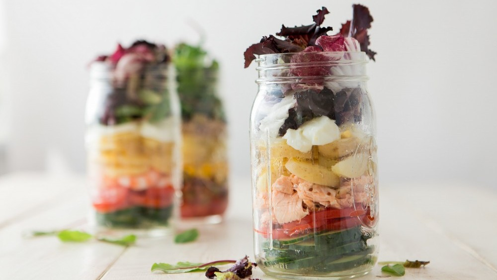 New potato salads in jars