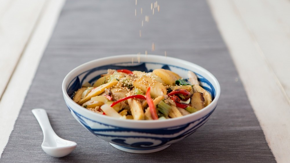 New potatoes in a Chinese-style stir-fry