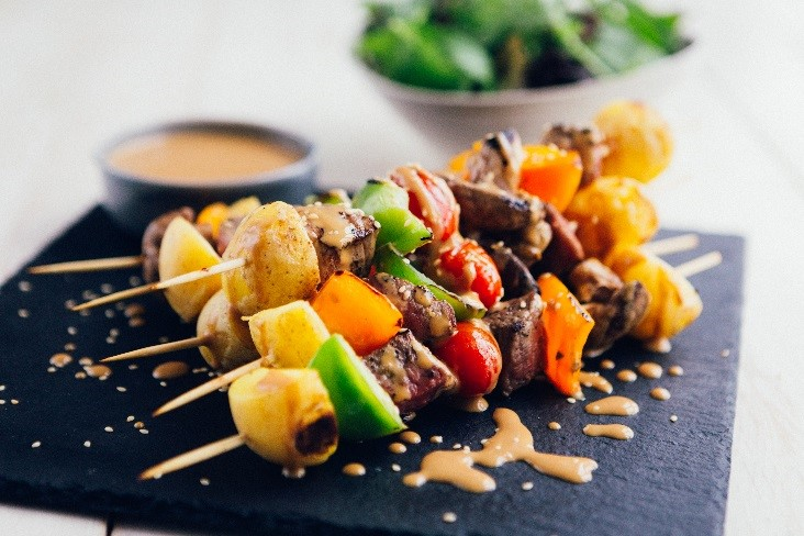 Cornish New potato and steak skewers