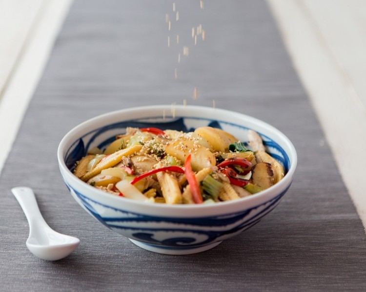 Cornish New potatoes in a Chinese-style stir-fry