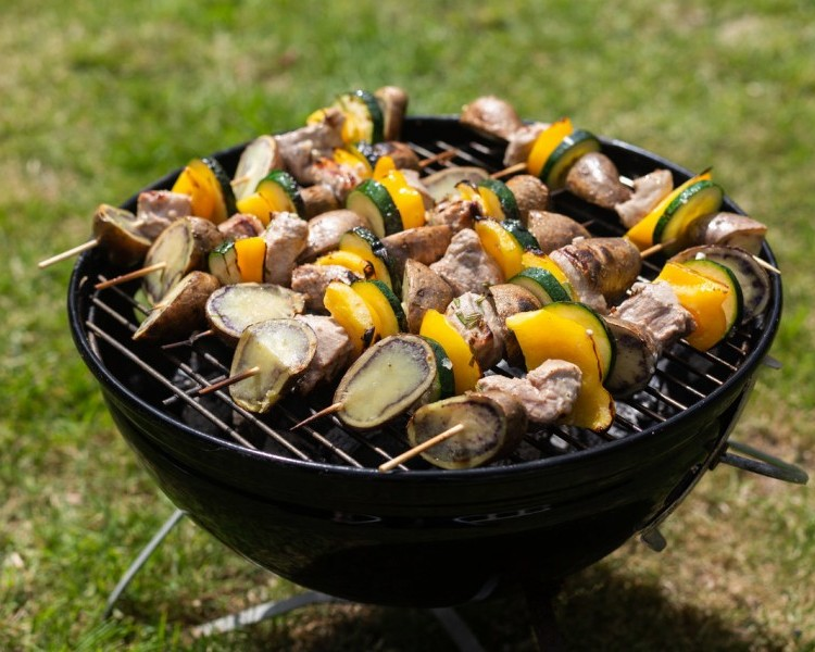Shetland Black potato and pork skewers with yellow pepper and courgette