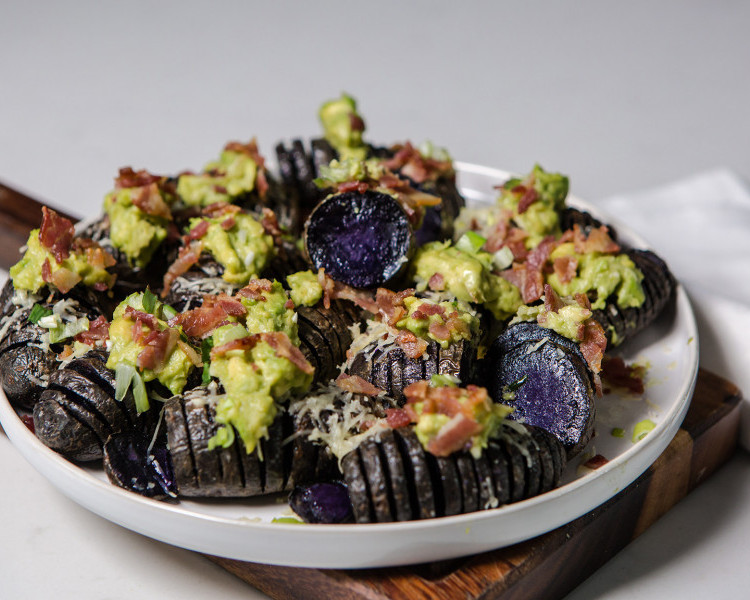 Loaded Hasselback purple potatoes